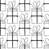 Black and white seamless patterns with gift boxes for coloring book. Festive background. Black and white seamless patterns with gift boxes for coloring book Vector Illustration