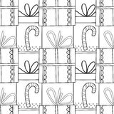 Black and white seamless patterns with gift boxes for coloring book. Festive background. Black and white seamless patterns with gift boxes for coloring book Stock Photography