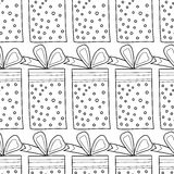 Black and white seamless patterns with gift boxes for coloring book. Festive background. Black and white seamless patterns with gift boxes for coloring book Royalty Free Stock Images