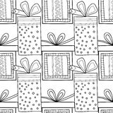 Black and white seamless patterns with gift boxes for coloring book Festive background. Black and white seamless patterns with gift boxes for coloring book, page Vector Illustration