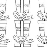 Black and white seamless patterns with gift boxes for coloring book Festive background Royalty Free Stock Photo