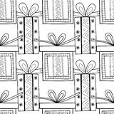 Black and white seamless patterns with gift boxes for coloring book Festive background Royalty Free Stock Images