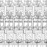 Black and white seamless patterns with gift boxes for coloring book Festive background. Black and white seamless patterns with gift boxes for coloring book, page Stock Illustration