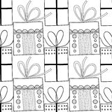 Black and white seamless patterns with gift boxes for coloring book. Festive background. Black and white seamless patterns with gift boxes for coloring book Stock Image