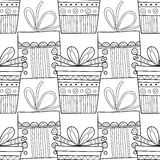 Black and white seamless patterns with gift boxes for coloring book Festive background. Black and white seamless patterns with gift boxes for coloring book, page royalty free illustration