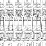 Black and white seamless patterns with gift boxes for coloring. Black and white seamless patterns with gift boxes for coloring book, page. Festive background Stock Photography