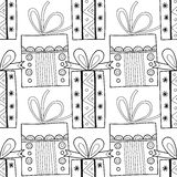Black and white seamless patterns with gift boxes for coloring. Black and white seamless patterns with gift boxes for coloring book, page. Festive background Stock Photos
