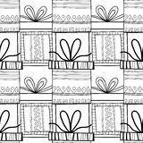 Black and white seamless patterns with gift boxes for coloring. Black and white seamless patterns with gift boxes for coloring book, page. Festive background Royalty Free Stock Photos