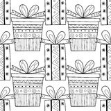 Black and white seamless patterns with gift boxes for coloring. Stock Image