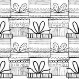 Black and white seamless patterns with gift boxes for coloring. Black and white seamless patterns with gift boxes for coloring book, page. Festive background Stock Photo
