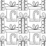 Black and white seamless patterns with gift boxes for coloring. Black and white seamless patterns with gift boxes for coloring book, page. Festive background Stock Images