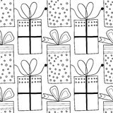 Black and white seamless patterns with gift boxes for coloring. Black and white seamless patterns with gift boxes for coloring book, page. Festive background Stock Image