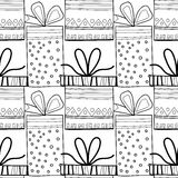 Black and white seamless patterns with gift boxes for coloring. Black and white seamless patterns with gift boxes for coloring book, page. Festive background stock illustration