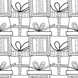 Black and white seamless patterns with gift boxes for coloring. Black and white seamless patterns with gift boxes for coloring book, page. Festive background Royalty Free Illustration