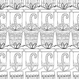 Black and white seamless patterns with gift boxes for coloring. Royalty Free Stock Photography