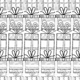 Black and white seamless patterns with gift boxes for coloring. Black and white seamless patterns with gift boxes for coloring book, page. Festive background Royalty Free Stock Photography