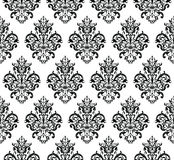 Black and white Seamless Repeating Vector Pattern. Elegant Design in Baroque Style Background Texture. Royalty Free Stock Photography