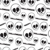 Black and white seamless skulls pattern with text happy halloween. Vector art illustration Royalty Free Stock Images