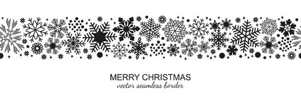 Black and white seamless snowflake border, Xmas. Black and white seamless snowflake border, Christmas design for greeting card. Vector illustration, merry xmas vector illustration