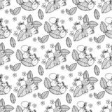 Black and white seamless strawberry pattern. Vector illustration in retro style. Design of packaging for berries stock illustration