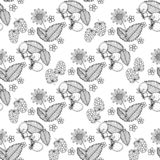 Black and white seamless strawberry pattern. Vector illustration in retro style. Design of packaging for berries.  stock illustration