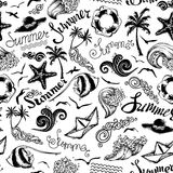 Black and white seamless summer pattern. Set of summer and vacation symbols and hand-written summer lettering on white background. Boundless texture can be used Royalty Free Stock Photography