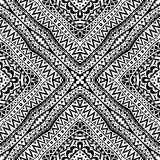 Black And White Seamless Tribal Pattern. Seamless geometric pattern in black and white. Abstract symmetric contrast pattern. Tribal background ornament Royalty Free Stock Photography