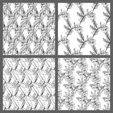 Black and White Seamless Tropical Leaves Floral Vector Pattern Background Wallpaper Design stock image