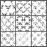 Black and White Seamless Tropical Leaves Floral Vector Pattern Background Wallpaper Design Stock Photos