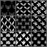 Black and White Seamless Tropical Leaves Floral Vector Pattern Background Wallpaper Design Stock Photography