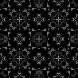 Black and white seamless wallpaper pattern. Ornate texture pattern, that will tile seamlessly. 2 global colors, radial gradient Stock Photography