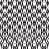 Black and white seamless wave pattern, linear design. Vector illustration Royalty Free Stock Photography