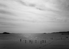 Black and white seascape. With silhouette figures stock images