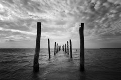 Black and white seascape with wooden pillars Stock Photo