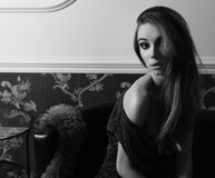 Black and white sensual elegant girl indoor Royalty Free Stock Photo
