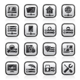 Black an white server, hosting and internet icons Royalty Free Stock Images