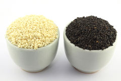 Black and white sesame in a bowl Royalty Free Stock Image