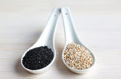 Black and white sesame seeds Stock Photos
