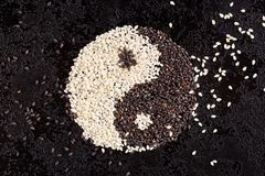 A sign of yin yang from the seeds of black and white sesame. Royalty Free Stock Photography