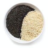 Black and White Sesame Seeds Stock Photo