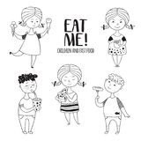 Black-and-white set boys and girls food. Fat kids hand-drawn in Doodle style. Sweets and fast food Royalty Free Stock Images