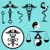 Black and white set caduceus. Kit of snake spiral, wings, keys, yin-yang, scales, eye, rod, bowl  icons. Vector illustration Royalty Free Stock Images