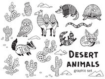 Black and white set of desert animals Royalty Free Stock Photography
