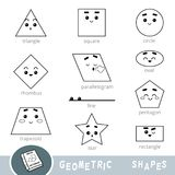 Black and white set of different geometric shapes. Visual dictionary. For children vector illustration