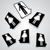 Black and white set icons with silhouettes of people Stock Photography
