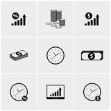 Black and white set of icons Stock Photos