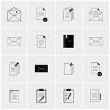 Black and white set of icons. Black and white vector set of minimalist icons stock illustration