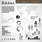 Black and white set of Infographic elements Royalty Free Stock Images
