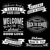 Black and white set labels on back to school Royalty Free Stock Photos