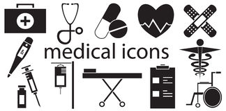 Black and white set of medical icons vector isolated. In white background Stock Photos